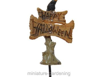 Micro Happy Halloween Sign Pick for Miniature Garden, Fairy Garden