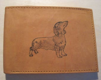 """Mankind Wallets Men's Leather RFID Blocking Billfold with """"Dachshund Dog Lover"""" Image~Makes a Great Gift!"""