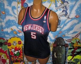 90s Jason Kidd New Jersey Nets CHAMPION Basketball JERSEY - sz small - vintage nba
