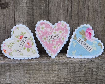 Fabric Heart Name Badges - Perfect for Hen Parties, Birthdays, Boutique shops etc.