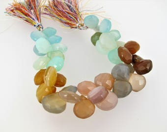 Colorful chalcedony faceted teardrop beads. Chalcedony briolette beads Teardrop beads. Full strand