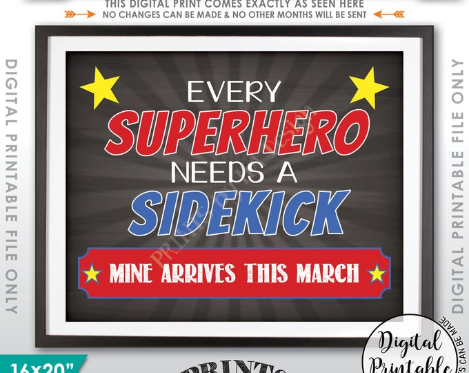 Every Superhero Needs a Sidekick Pregnancy Announcement, Baby #2 due MARCH, Big Brother Sign, Chalkboard Style Printable Instant Download