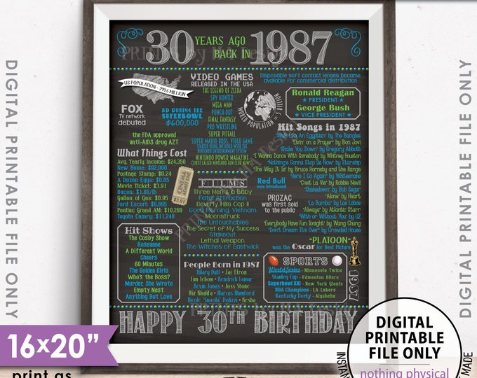 """1987 Birthday Poster 30th Birthday Gift Flashback 30 Years Born in 1987 30th B-day, 8x10/16x20"""" Chalkboard Style Printable Instant Download"""