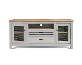 tv stand cabinet farmhouse reclaimed wood media console handmade