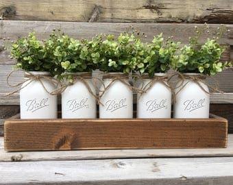5 Quart Mason Jar Centerpiece, Farmhouse Table Decor, Boxwood Table Centerpiece, Rustic Mason Jar Centerpiece, Planter Box with Mason Jars