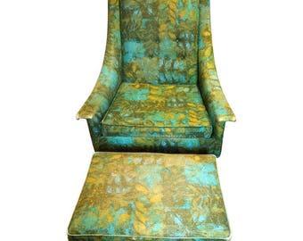 Rare Mid-Century Selig Armchair and Ottoman