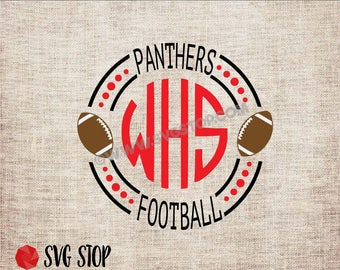 Panther Football Monogram Frame - SVG, DXF, PNG, Jpg, Eps - Cut File - Silhouette, Cricut, Sublimation Printing - Instant Digital Download