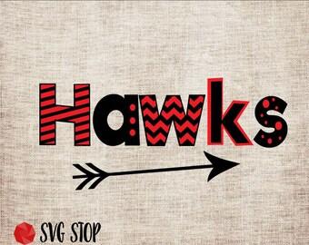 Hawks Monogram Frame - SVG, DXF, PNG, Jpg, Eps - Cut File - Silhouette, Cricut, Sublimation Printing - Instant Digital Download