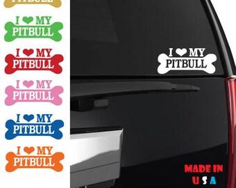 I Love My Pitbull sticker car window dog heart bully puppy adopt rescue bulldog iphone laptop case decal vinyl pet terrier custom ANY SIZE