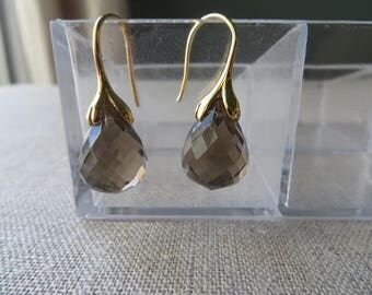 Faceted Smokey Quartz Teardrop Gold Earrings
