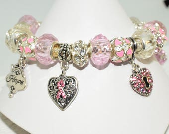 Survivor Hope Silver European Charm Bracelet with European Beads and Charms Pink Ribbon Hearts and Love Pandora Style