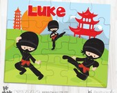 SALE Ninja personalized puzzle, 20 pieces puzzle, name puzzle, Personalized name puzzle, Kids Personalized Gift - PU188