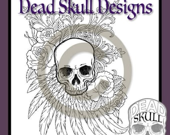 Gothic Skully - Colouring Page, Coloring Page, Digital Stamp, Dead Skull Designs