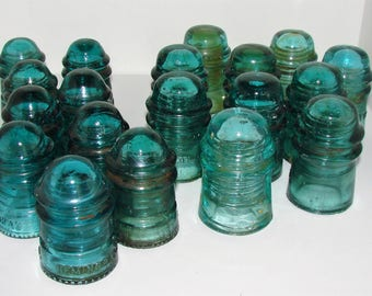 15 Green Glass Insulators Great For Crafts N More