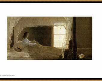 """Chambered Nautilus and George's Place Painted by Andrew Wyeth. The page is approx. 16 1/2"""" wide and 13"""" tall. Chambered image is 13"""" by 7"""""""