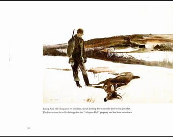 "Young Karl and Deer painted by Andrew Wyeth. The page is 13"" wide and 10"" tall. The image is 10 inches wide and 7.25 tall."