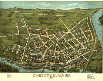 Chicopee Mass Panoramic Map dated 1878. This print is a wonderful wall decoration for Den, Office, Man Cave or any wall.