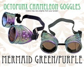 Octopunx Mermaid Chameleon Green Purple Limited Edition Hand Painted Mix and Match Steampunk Goggles Your Choice of Lenses