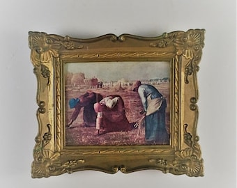 ON SALE gold framed picture ornate gold framed vintage picture early settlers picture decorative wall decor small gold framed picture