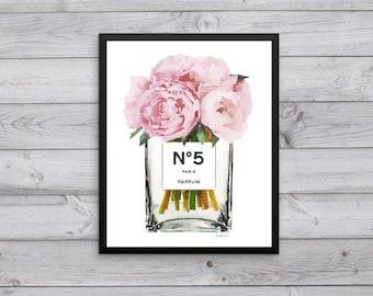 Fashion Watercolor, tall vase, perfume, make up, flower, Peony, pink, bathroom, bedroom decor, fashion illustration, fashion wall art, gift
