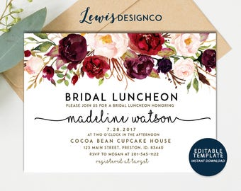 Fall Bridal Luncheon Invitation, Autumn Floral Bridal Shower Invite, Wedding Luncheon, Editable Template,  Floral Invitation, Bridal Brunch