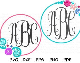 Sea Shell Circle Monogram SVG Frame Design Files, Silhouette Cameo, Cricut Design Space, DXF Files, EPS File, Tropical Monogram - CA452