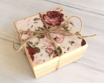 Decoupage antique roses pine coasters with holder - Gift for her - Birthday - Custom coasters sets - Pine wood - Country decor - Farmhouse