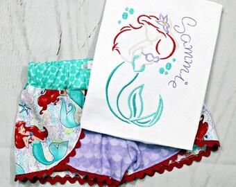 Girls Ariel Shirt- Little Mermaid Shirt- Ariel Outfit- Toddler Girl- Ariel Shorts- Little Mermaid-Baby Girl- 6m, 12m, 18m, 2t, 3t, 4, 5, 6 8