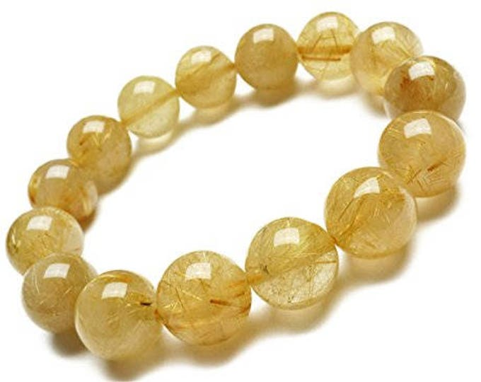 "Genuine Rutilated Quartz Golden Yellow Natural Gemstone 7""- 7.5"" Stretch Bracelet Available in 6- 8 & 10 mm Round Beads-Unisex"