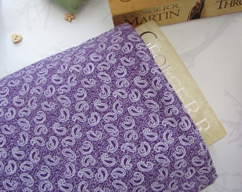 Book Sleeve - Purple Paisley - Book Cover - Book Protector - Bookworm Gift - Reusable Book Cover - Paperback Cover - Fabric Book Cover