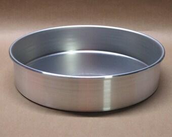 "Cake Pan 9"" Inch Aluminum Seamless Hand Spun, Handmade, New, Metal Spinning,"