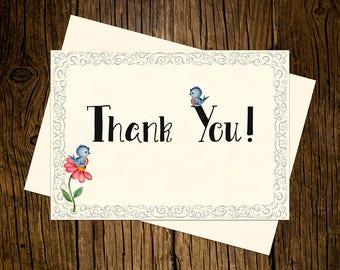 Bluebird Thank You Note Cards Custom Printed Handmade Stationery Set of 12 Vintage Ecru
