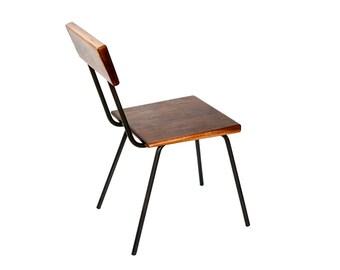 Terminal Chair - Wood and Steel Modern Armless Side Chair - Idustrial - Walnut