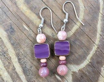 Bohemian Purple & Pink Earrings