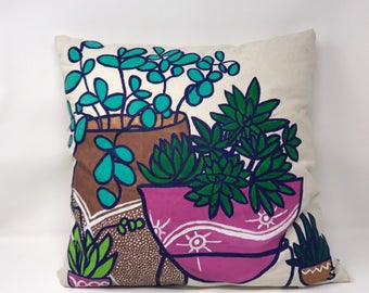 18x18 Hand Painted Succulent Decorative Throw Pillow