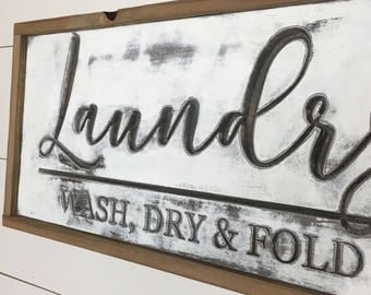 Laundry Co. Sign, Laundry Room Sign, Laundry Room Decor, Framed Laundry Sign