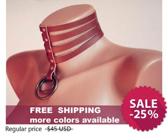 Leather chocker collar Bdsm collar Posture collar Brown leather choker  necklace Steampunk choker Sub Slave collar Kitten play collar