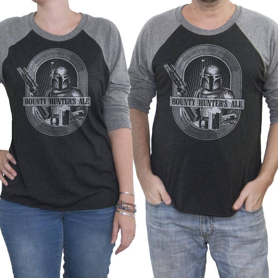Boba Fett Shirt - Mens Star Wars Shirt -  Boba Fett Bounty Hunter Ale Hand Screen Printed on a Unisex Baseball Tee - Craft Beer Shirt