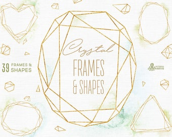 Crystal Frames & Shapes with/without Watercolor Washes, Polygonal Pre-made Clipart, Gold, splash, geometry, brand, wedding, template, trend