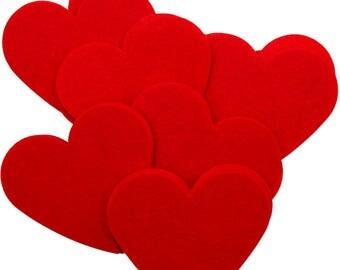 Red Stiff Felt 3 Inch Hearts (22pc)