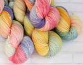 Easter Basket - Sock Yarn - Hand Dyed Variegated Yarn - Speckled Yarn - Extrafine Merino Nylon - Fingering HandDyed - Pastel easter egg