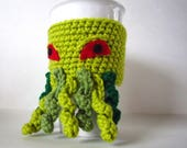 Cthulhu Mug Cozy in Green - Coffee Sleeve - Creepy Crochet, Monster Cup Cozy - Coffee Clutch - Crochet Cup Holder - Coffee Culture - Horror