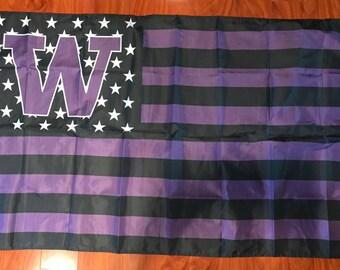 University Of Washington Huskies NCAA 3x5 Feet Flag w/Grommets Stars & Stripes