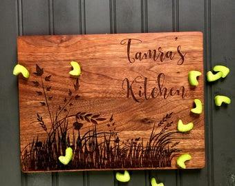 Cutting Board, Custom Cutting Board, Friend Gift,Kitchen, Christmas Gift, Gift for Mom, Engraved Board, Mahogany Cutting Board