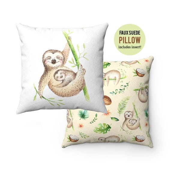 Pillow WITH INSERT - Mom with Baby Sloth Pillow with Filling - Faux Suede 14x14 Pillow, 16x16 Pillow, 18x18 Pillow, 20x20 Pillow