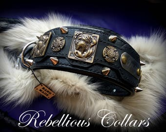 Leather dog collar with dogs heads