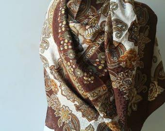 Maxi vintage silk scarf, sarong shawl XXL