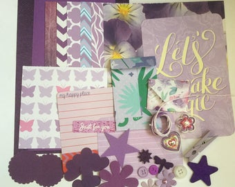 Purple scrapbooking lot, paper embellishment kit, ephemera, card making, junk journal kit, project life, paper pack, diy