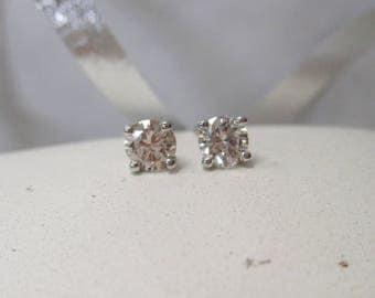 14K White Gold Diamond Stud Earrings, .48ctw.