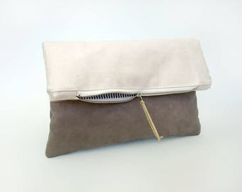 Beige clutch bag, Faux suede leather handbag, Foldover clutch bag, Bridesmaid clutch purse, Pochette, Vegan leather evening clutch